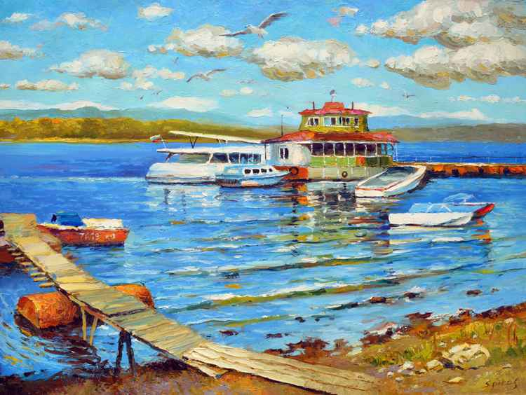 Summer day on the river Volga -  Oil painting by Dmitry Spiros. 60cm x 80 cm -