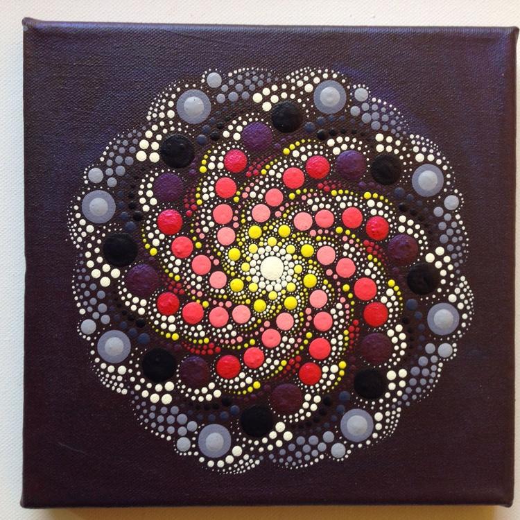 Pruple Rain Dotart Mandala Painting on Canvas 20x20 cm - Image 0
