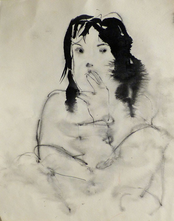 Woman Smoking a Cigarette, 24x32 cm - Image 0