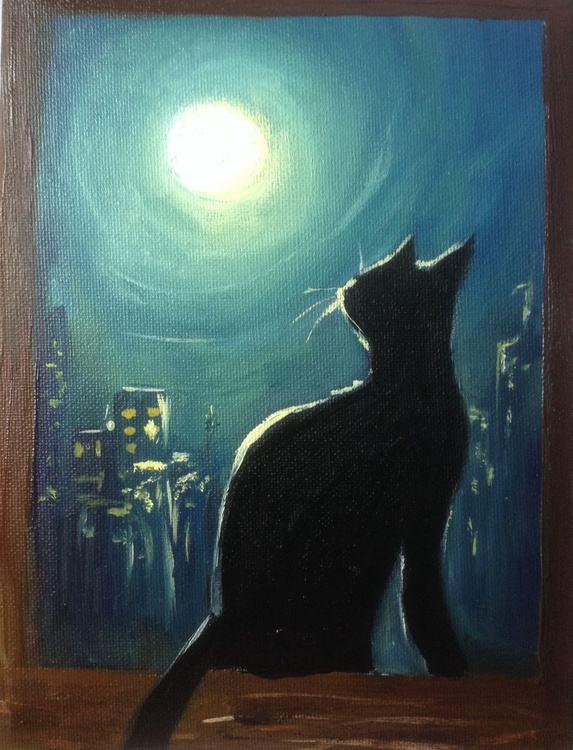 The cat's looking at the moon - Image 0