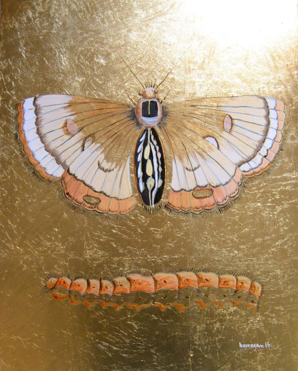 The Golden Moth Oil Painting on Lacquered Golden Leaf Canvas - Image 0