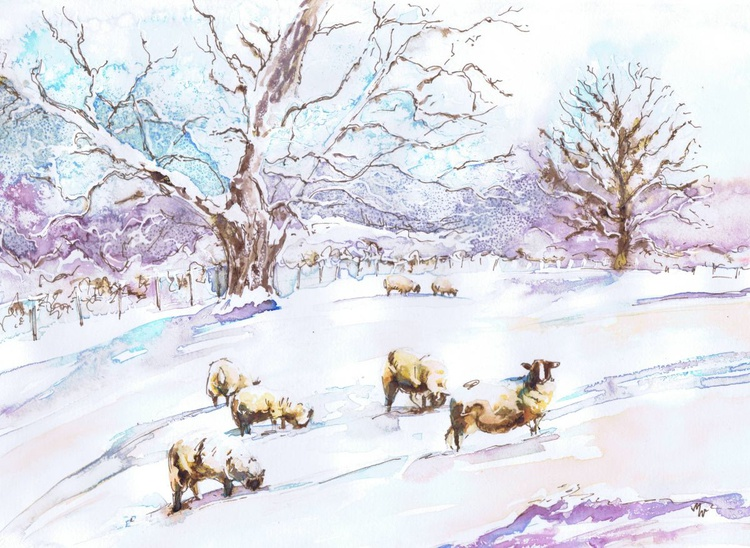 Sheep Grazing in Winter - Image 0