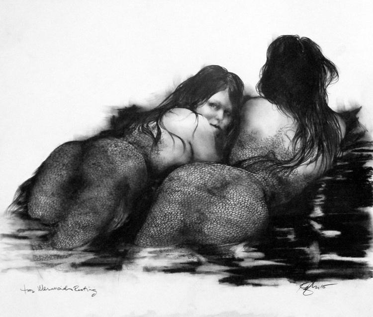 Two Mermaids Resting - Image 0