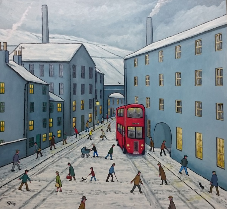 Red Bus in a Grey Town. - Image 0