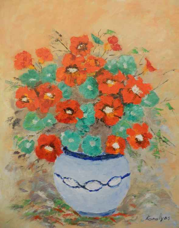 Bowl with nasturtiums