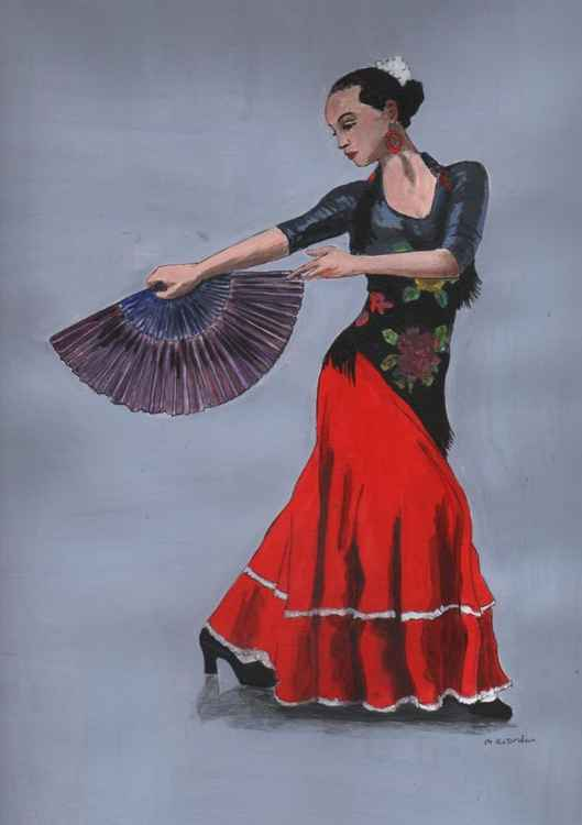 SPANISH DANCER IN RED WITH FAN -