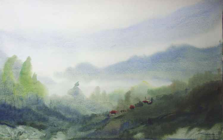 Morning Himalaya Landscape - Watercolor on paper -