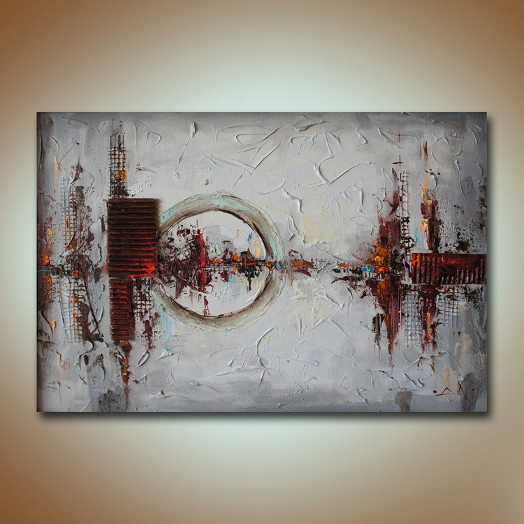 Urban cardiogram, Abstract painting, mixed media collage, free shipping - Image 0