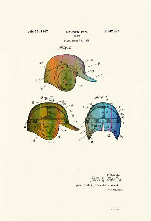 Baseball Helmet Patent Drawing - Circa 1962