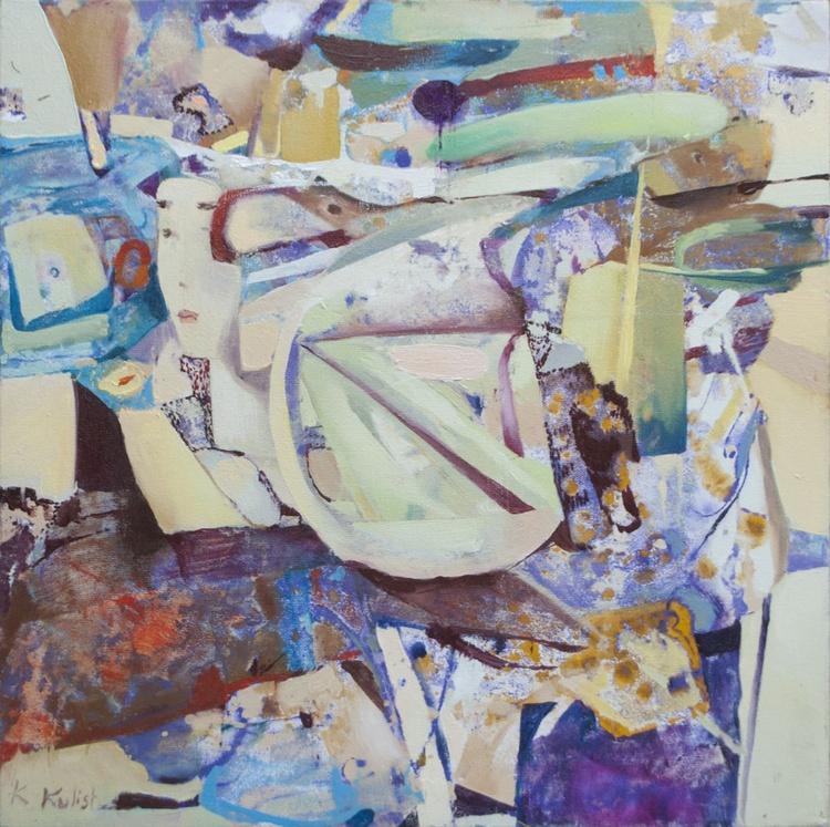 Original oil painting on canvas signed abstract mediumwomen Europe artist Kulish - Image 0