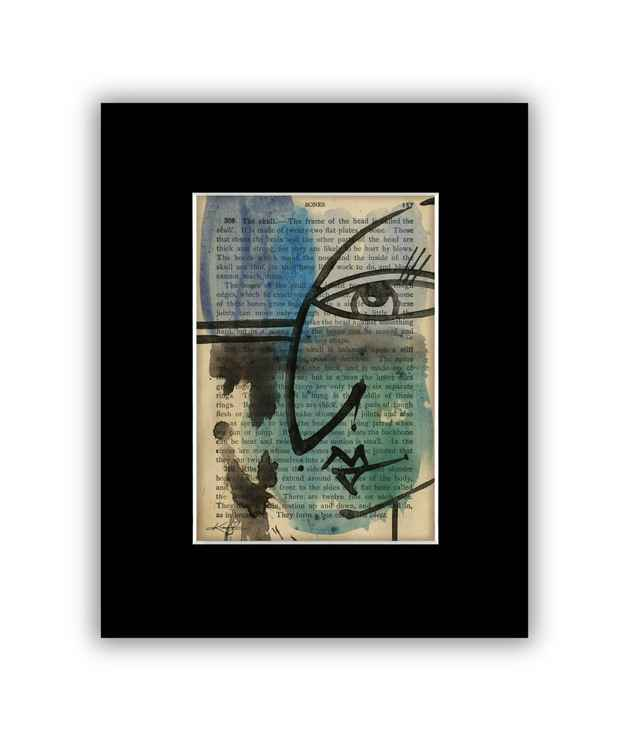 """I See 36"" on Antique Book Page - Abstract Watercolor Painting"