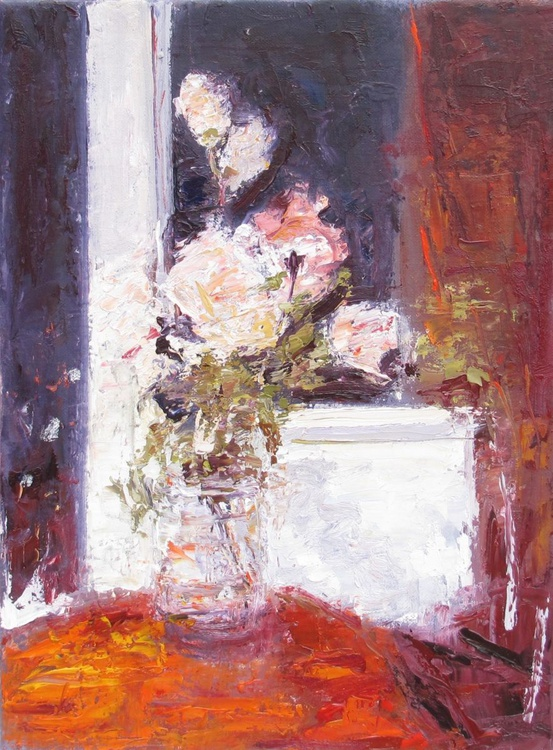 Evening, Pink and Yellow Roses, Handmade oil painting One of a kind - Image 0
