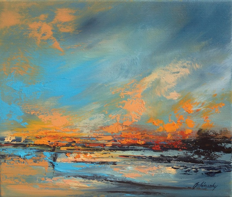 My way - 25 x 30cm, abstract landscape oil painting, gray, turquoise, orange - Image 0