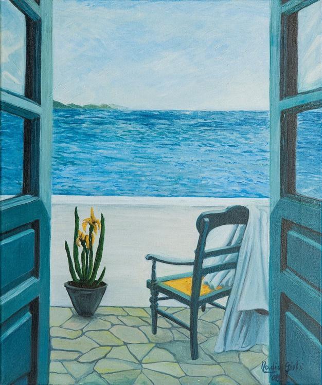 Sea with chair, towel and flower vase - Oltre l'orizzonte  - mare con sedia telo e vaso di fiori - Image 0