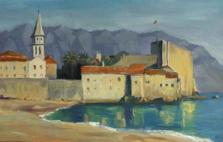 Budva Old Town from Mogren Beach -