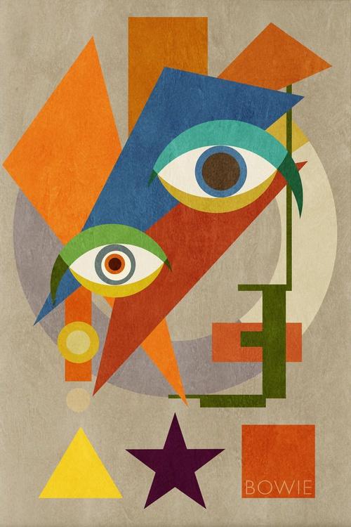 Bowie Bauhaus ONE, David Bowie Portrait, Unique Monoprints 1/1 - Image 0