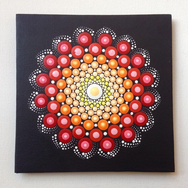 Red Dotart Mandala Painting on Canvas 15x15 cm - Image 0