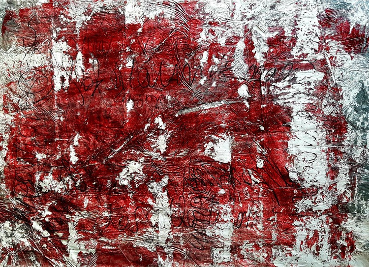 Words I never said -01- (n.217) - abstract wordscape - 100 x 70 x 2,50 cm - ready to hang - acrylic painting on stretched canvas - Image 0