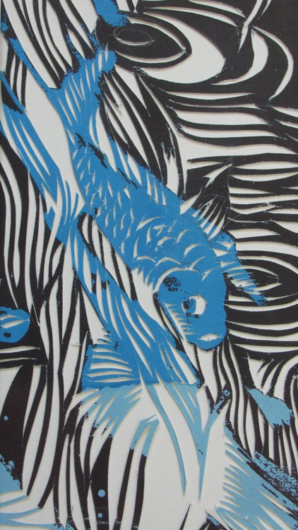 koi screen print with paper cut - Image 0