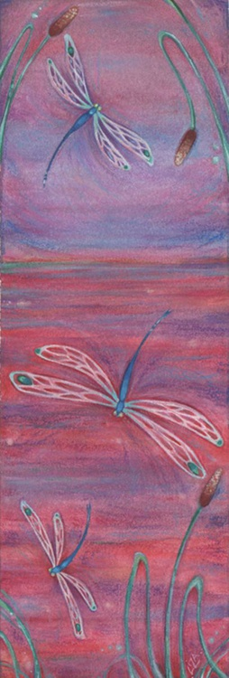 Red Dragonflies watercolor painting - Image 0
