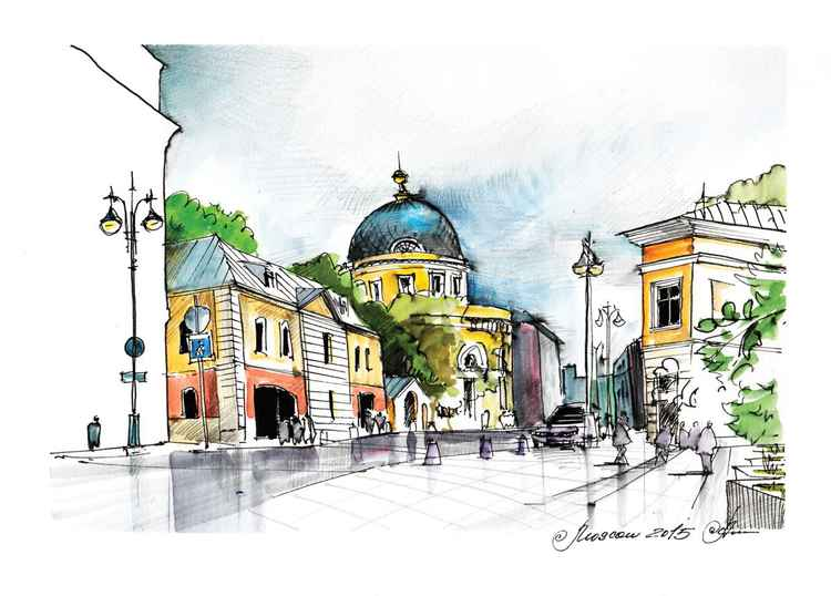 Cityscape, original Urban sketch on location, A4 plus passepartout -