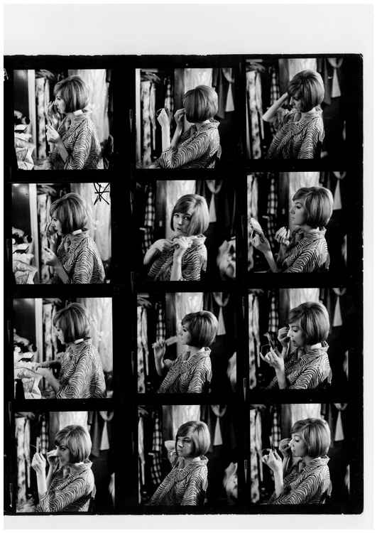 Cilla Black in her dressing room at the London Palladium 1964. Contact sheet.
