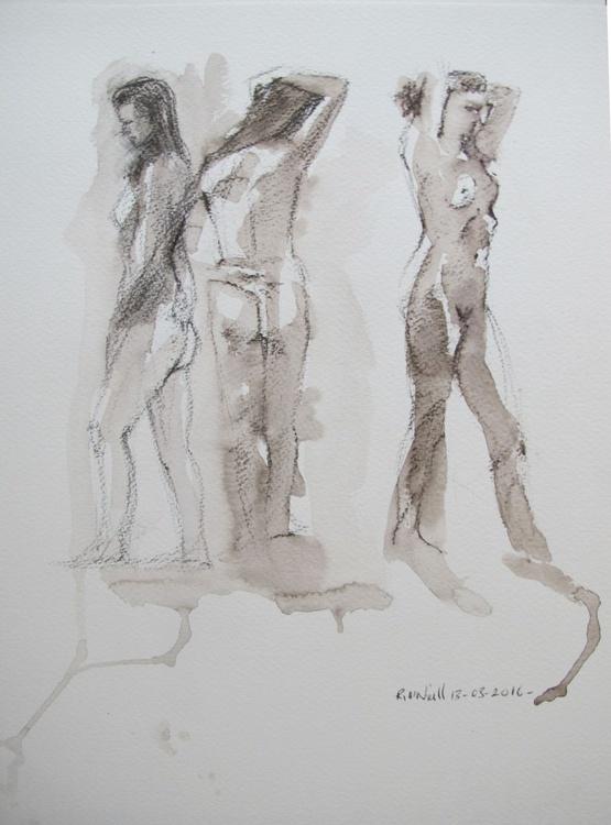 3 female nudes - Image 0