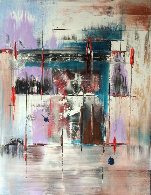 Passion of Red , // abstract painting // original painting // Large wall art // 28x36 inches - Image 0