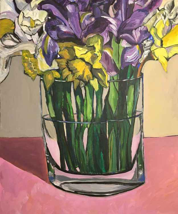 Irises and Daffodils -