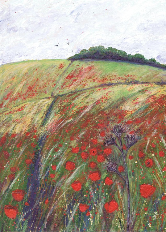 Red Poppies on the Downs - Image 0