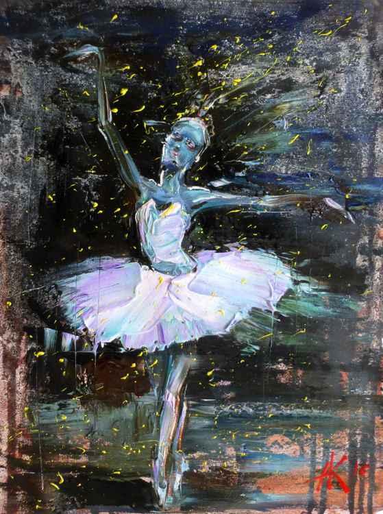 Ballerina, oil painting 30x40 cm
