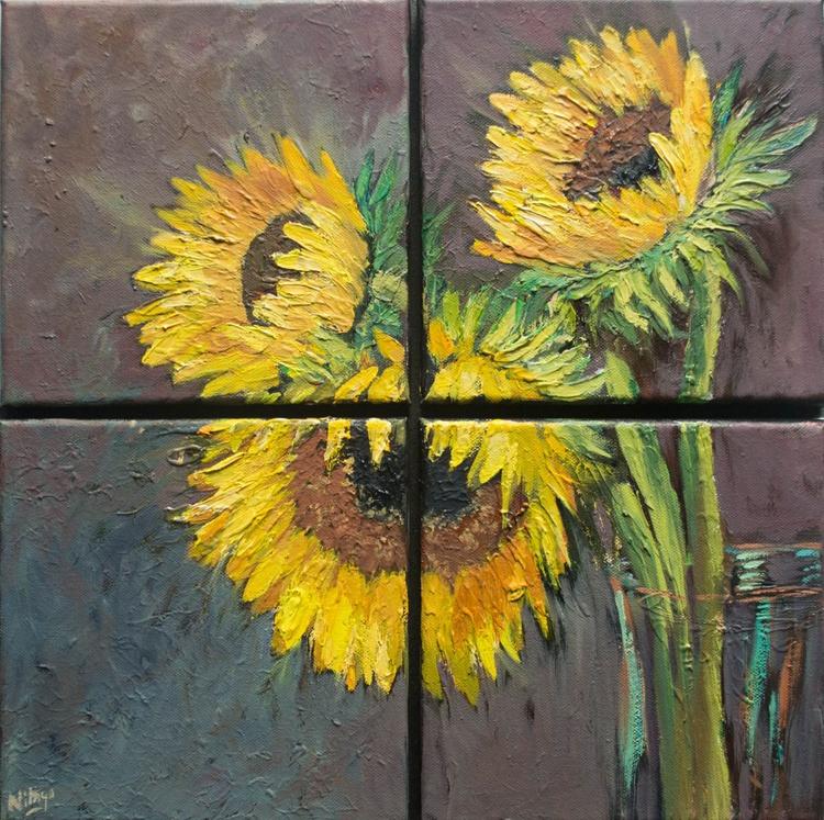 Sunflowers - Original Multi-panel Oil Painting - Image 0