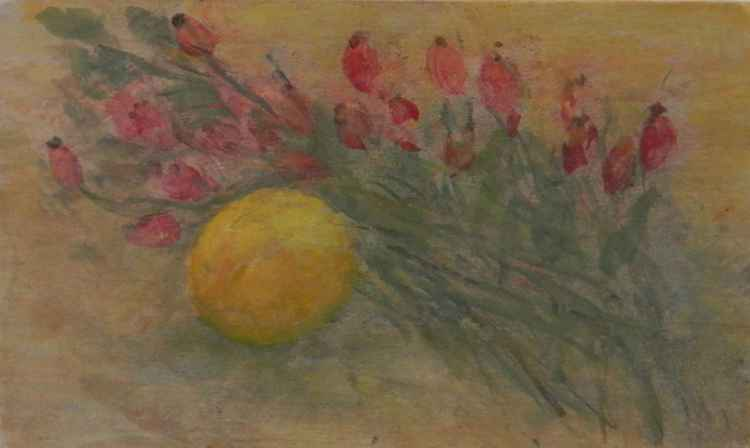 Lemon and Dog Rose Berry, 2012, acrylic on wood, 13,5 x 22,5 cm -