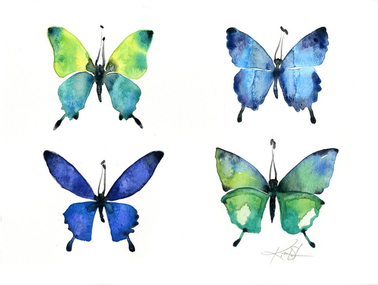 Four Butterflies 4 - Abstract Butterfly Watercolor Painting - Image 0
