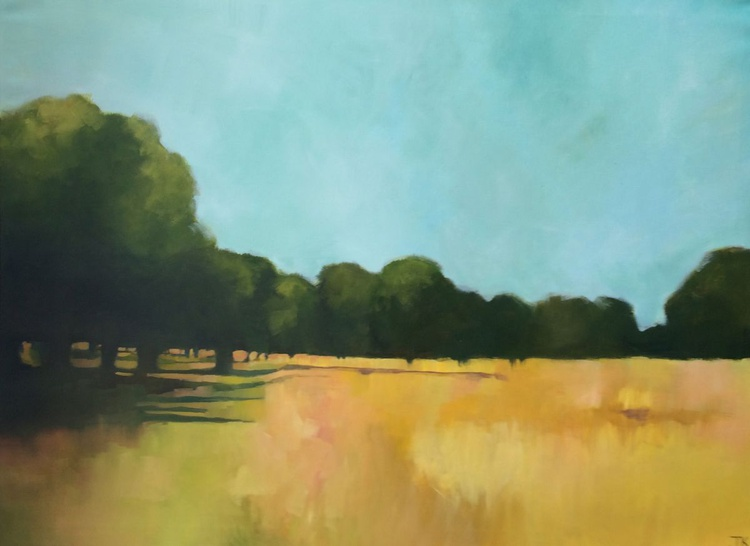 HEAT HAZE: THE PARK IN SUMMER II. A large original oil painting on 100% Linen (100 x 75 cm) - Image 0