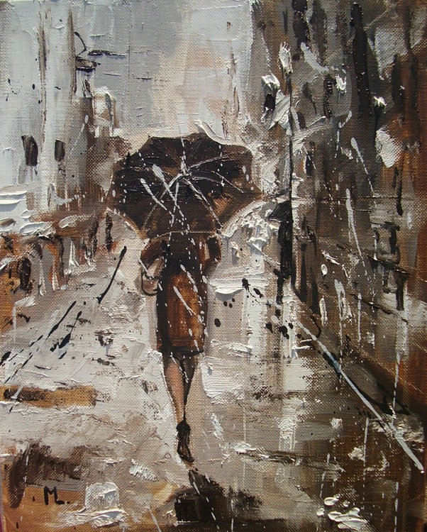 """ HE IS WAINTING AT HER ... "" original oil painting RAIN brown - Image 0"