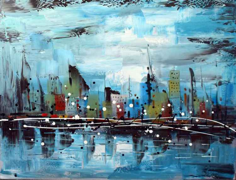 The City in the Middle - Abstract Acrylic Art Painting - 28x35 inch, 2016  [Discounted Sale] -