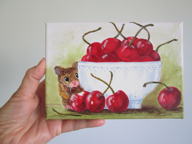 LIFE IS A BOWL OF CHERRIES, still-life with a twist, hamster and cherries, small original acrylic on canvas artwork - Image 0