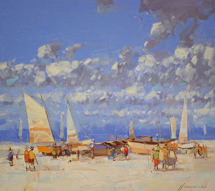 Sail Boats-Harbor, Original oil painting, Handmade artwork, One of a kind, Signed with Certificate of Authenticity - Image 0