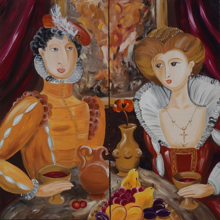 renaissance Portrait Habsburg Paintings diptych medieval decor 100x100 cm style 16th century noble couple drinking wine Beautiful Woman noblemen acrylic on stretched canvas wall art by artist Ksavera - Image 0