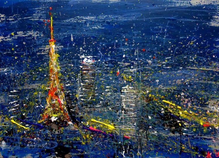 Parisian night, large acrylic painting, 100x70 cm - Image 0