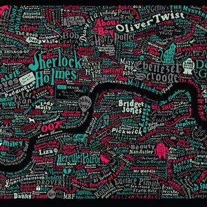 LITERARY LONDON MAP (Red&Green) by Dex