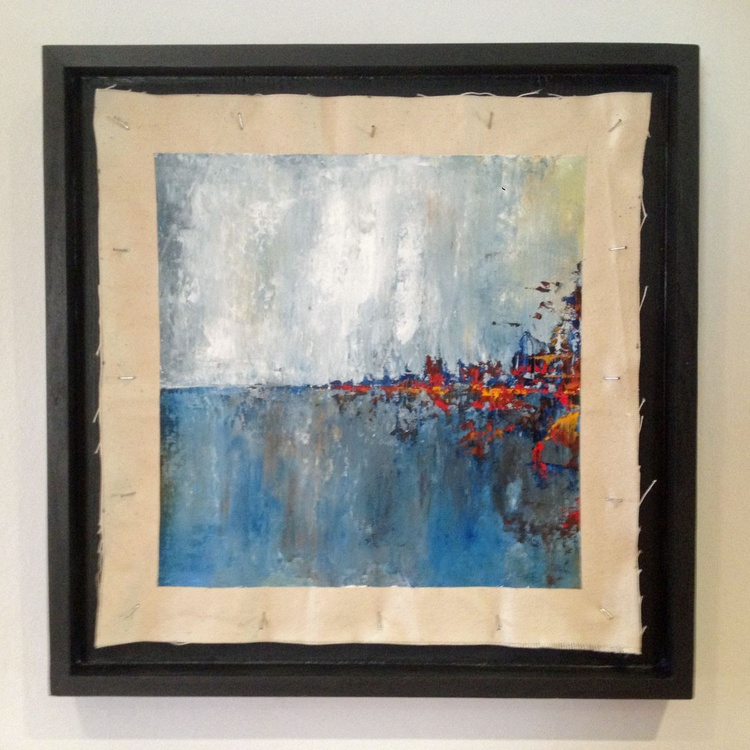 Lights on the Bay - Original One of a Kind Abstract Landscape Oil Painting - Image 0