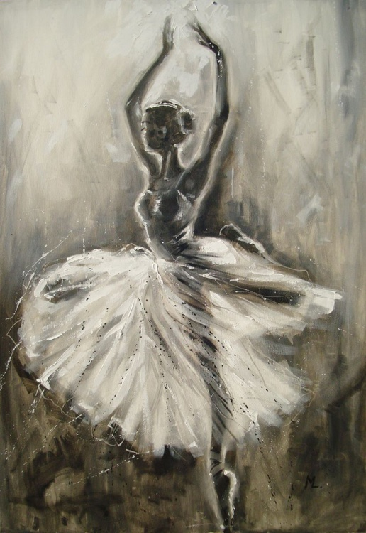"LARGE FORMAT 100x70xm ballerina gift "" TOUCHING THE LIGHT - series - grey light "" - Image 0"