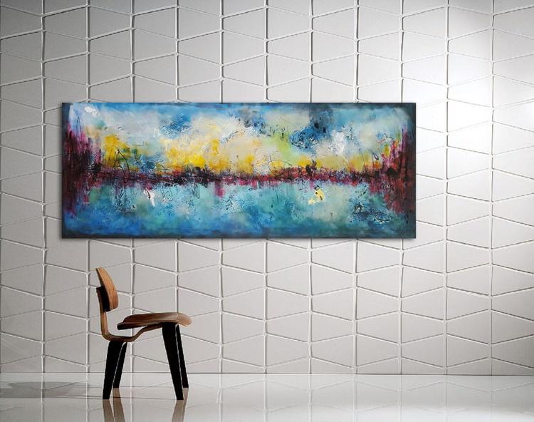 "59x 23,5""( 150x60cm), Evia Island Landscape,  orange painting , canvas art, home painting - Image 0"