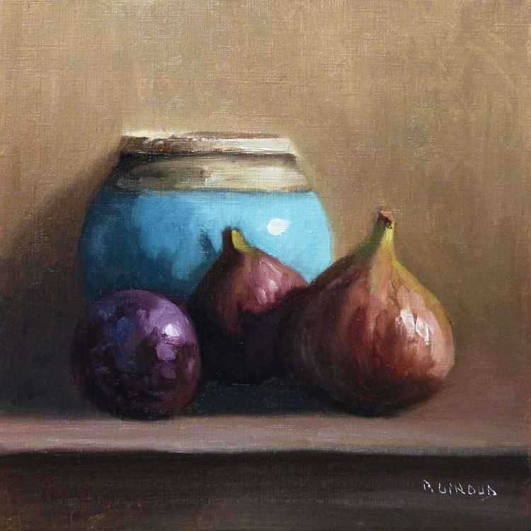 2 Figs, a Plum and a Blue Pot -