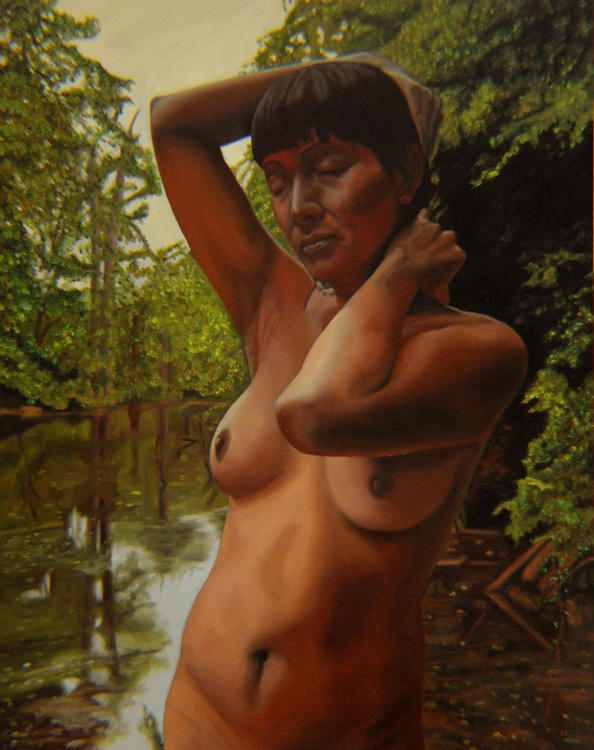 May Morning Arkansas River 4 - figure - semi nude - bather - river - Image 0
