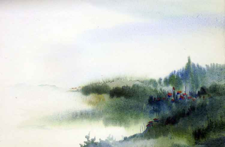 Cloudy Himalaya Mountain Landscape - Watercolor on Paper -