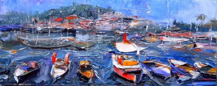 Boats, original oil painting, 50x20 cm - Image 0