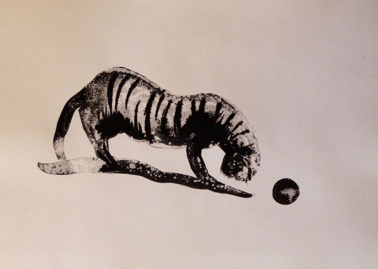 The Tiger Cat, ink drawing 29x42 cm - Image 0